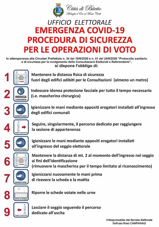EMERGENZA COVID 19-PROCEDURA DI SICUREZZA PER LE OPERAZIONI DI VOTO